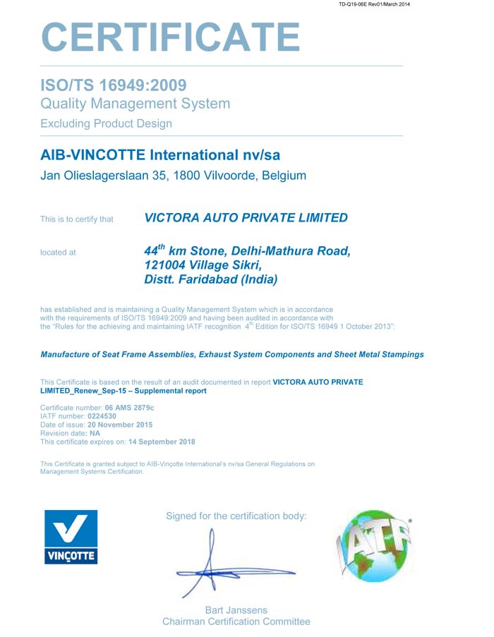 Certifications Victora Group